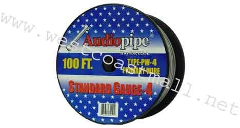 Black 4 Gauge Primary Power Cable Audiopipe PW4100-B 100 Ft