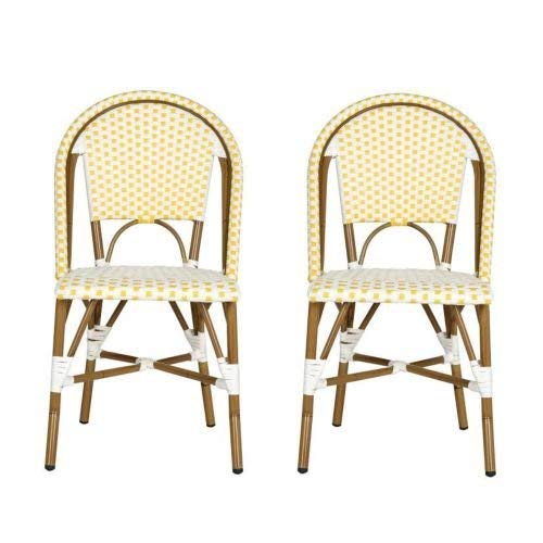 (Safavieh Home Collection Hooper Yellow & White Indoor-Outdoor Stacking Side Chair (Set of 2), Medium Oak)