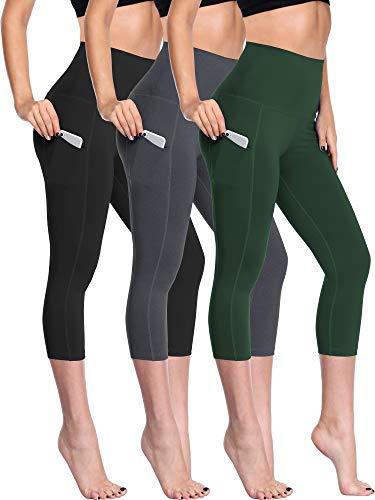 (Neleus Women's 3 Pack Tummy Control High Waist Capris Leggings with Two Pockets,109,Black,Grey,Dark Green,S)