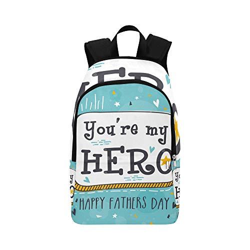 Backpack Shoulder Bag My Dad My Hero Quote for Men Women Teachers Bookbag School Bag Waterproof Middle School Vacation for Traveler