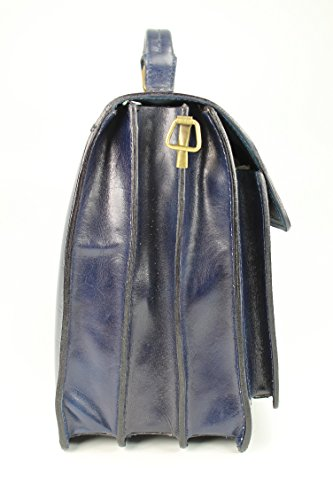 Belli Design Bag B - Maletín italiano unisex, piel, 40 x 30 x 14 cm (an. x al. x pr.), varios colores Azul - azul oscuro