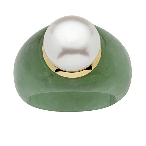 - 10K Yellow Gold Round Cultured Freshwater Pearl (11mm) and Genuine Green Jade Ring Size 8