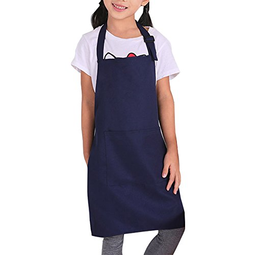 Kids Apron with Pockets Adjustable Shoulder Straps Machine Wash Children Bib Aprons for Kitchen Classroom Garden Community Event Party Crafts Art Painting (Darkblue)