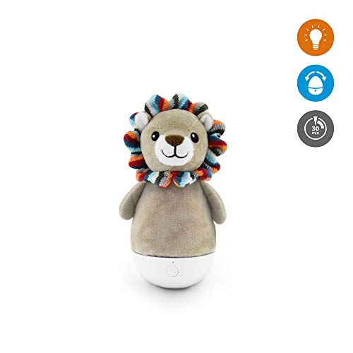 - Kids Nightlight Tumbler Lamp Toy - Touch Sensor, Plush Animal Bedside Light, Multiple LED Color Modes, Rechargeable Battery, Lex The Lion by Zazu Kids