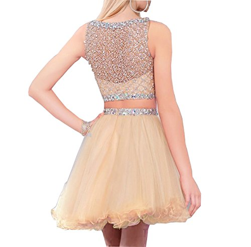 Homecoming Prom Dresses Piece Bodice Dress Beaded BessDress Ivory Tulle Short Two BD077 wqIxxX8U