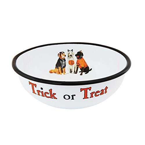 Creative Halloween Ideas (Enameled Metal 10.5 Inch Round x 4 Inch Height Trick or Treat Halloween Dog Serving Bowl)