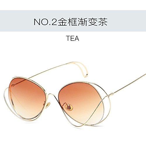 marco de De Gafas Creativo JUNHONGZHANG gradual De Decorativas Gradiente dorado De Sol Fotográficas Sol Té Viaje Gafas De Gafas Sol Ceniza Mujer De Dorado De Gafas De Polígono 4yqqFZvA