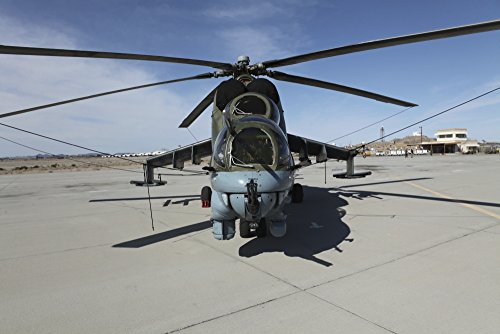 March 29 2011   An Mi 24 Hind Helicopter Parked On The Flight Line At The South Cala In Marine Corps Air Station Yuma Arizona Poster Print  34 X 22