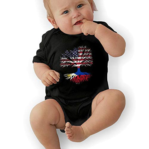 LWI DIW American Grown with Philippines Roots Comfortable Newborn Baby Boys Girls Lightweight Short-Sleeve Bodysuit Romper Outfits Black]()