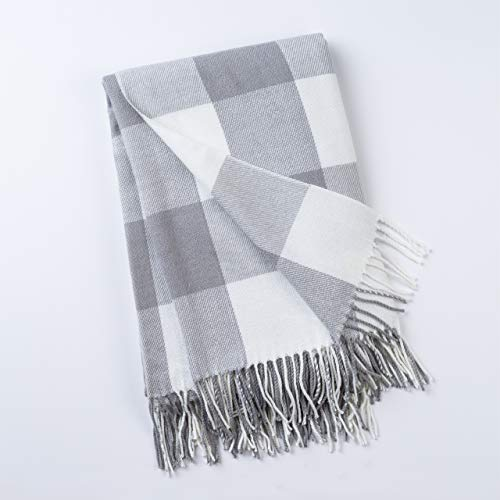 - GOOD MANORS Buffalo Plaid Throw Blanket with Fringe, Farmhouse Check Pattern, Ultra Lightweight 15 oz, Woven Soft Breathable Stylish, 50 x 60 in. (Gray)