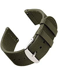 | Premium Nylon Quick Release Replacement Watch Bands for Men and Women, Watches and Smartwatches (Olive, 20mm)