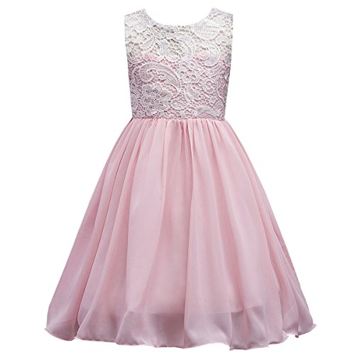 Girls Lace Dress Ballgown for Wedding Party Pink 150 -