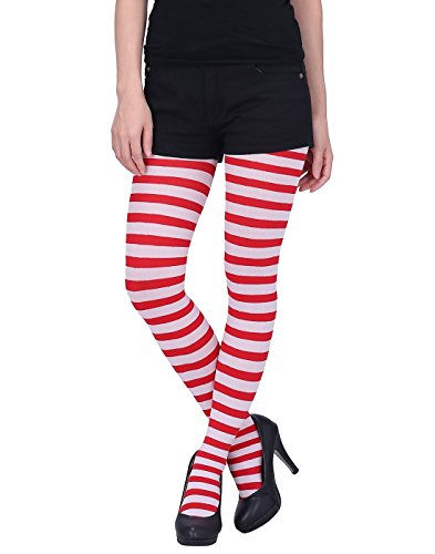 HDE Women's Striped Tights Full Length Sheer Microfiber Nylon Footed Stockings (Red and (Red And White Stockings)