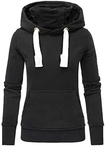 Xinantime Womens Hoodies Blouse Solid Hooded Turtleneck Long Sleeve Sweatshirt Pullover Tops Shirt