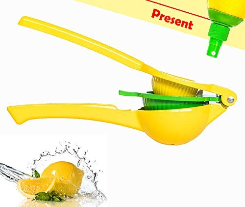 NNRT Manual Lemon Squeezer - hand juicer fresh citrus juicer aluminum acid orange juicer fruit juicer juicing machine hand moving yellow