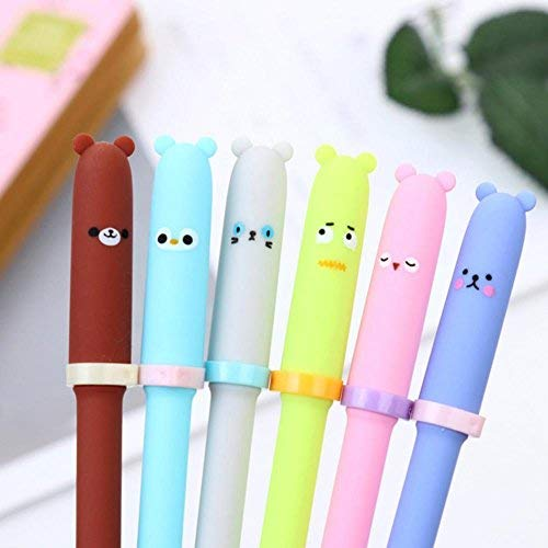 Yeefant Luxury Fountain, 6 PCS Creative Animal Expression Gel Kawaii Cute Stationery, Executive Pencil Set,Art Gift Pen,Calligraphy Painting, Multicolor B