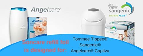 Refill foil nappy sacks compatible with Sangenic Angelcare Tommee Tippee /& Litter Locker II cassettes equivalent to 56 Angelcare original refills FREE TUBE 400 meters liner