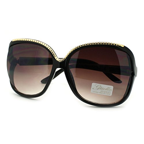 Giselle Womens Metal Rope Top Trim Oversized Round Butterfly Sunglasses Gold - Metal Trim Rope
