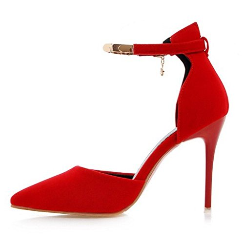 COOLCEPT Mujer Moda D-Orsay Sandalias Zapatos Correa de Tobillo Tacon de Aguja Zapatos para Senora 748 Rojo