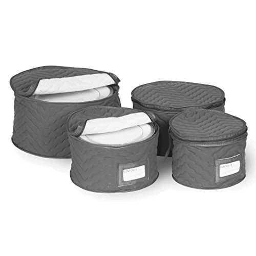 Richards Homewares Set of 4 Micro Fiber Quilted Deluxe Plate Case Dinnerware Storage Organizer for Saucers, Dinner Plates, Dessert Plates, and Salad Plates - Includes Content Label Inserts, Charcoal by Richards Homewares