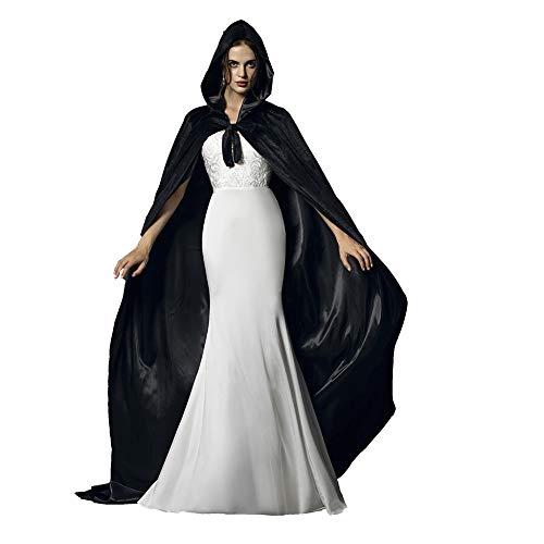 Black Halloween Grim Reaper Hood Cloak Witch Medieval Cape Robe Cosplay ()