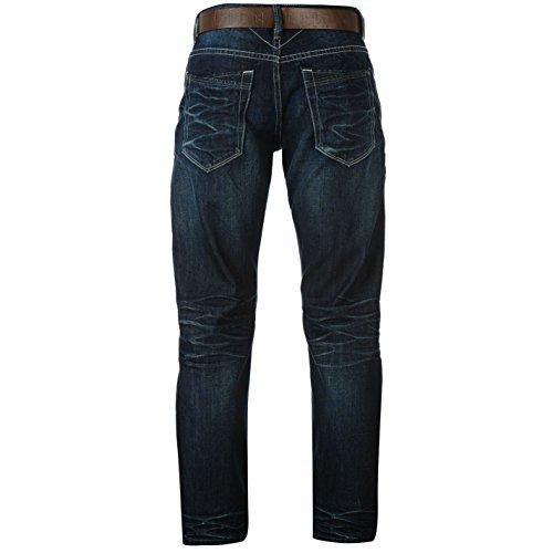Firetrap Herren Jeans Leder Guertel Inklusive Straight Denim Hose Jeanshose Blau 36W L