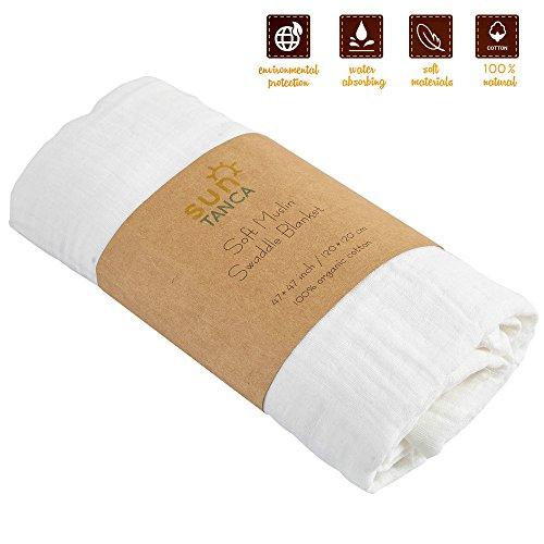 White Baby Swaddle Blanket Muslin product image