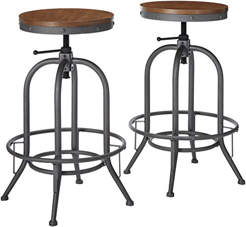 Graphite Finish Bar - Adjustable Bar Stools Weathered Brown and Graphite (Set of 2)