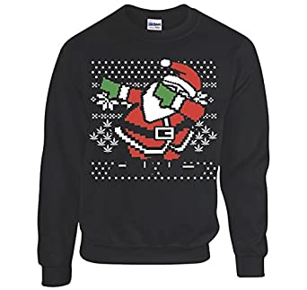 Amazon.com: Dabbing Santa Ugly Christmas Sweatshirt Men's Black ...