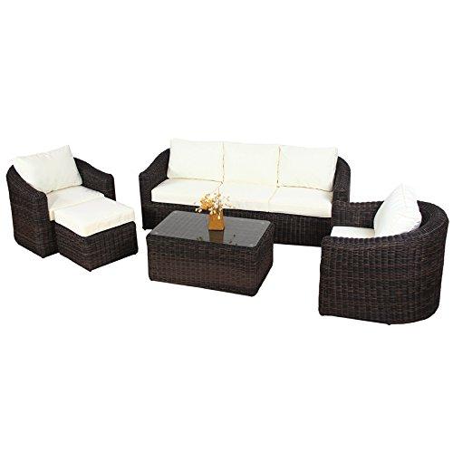 POLY RATTAN Lounge Gartenset BRAUN Sofa Garnitur Polyrattan ...