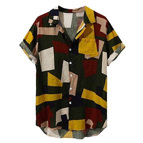 Big Sale! Fastbot Men's T-Shirt Short Sleeve fit Cotton Mens Contrast Color Geometric Printed Turn Down Collar Loose Shirts (Long Reel Sleeve Free T-shirt)
