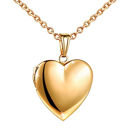 (YOUFENG Love Heart Locket Necklace That Holds Pictures Polished Lockets Necklaces Birthday Gifts for Girls Boys (Heart Gold Locket))