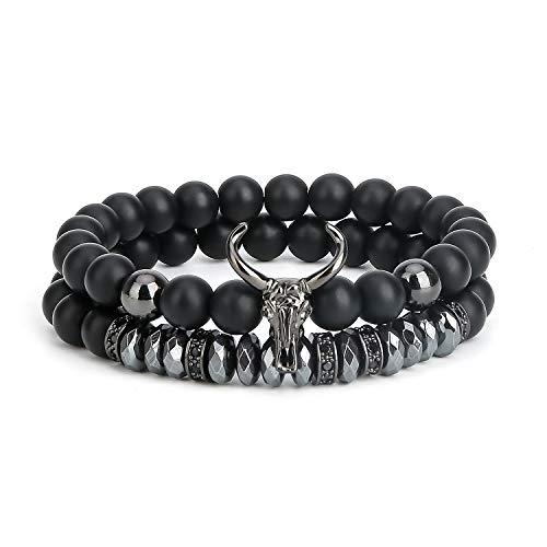 ASHMITA Bead Bracelets for Men Charm Black Bull Matte Onyx Stone Bangle