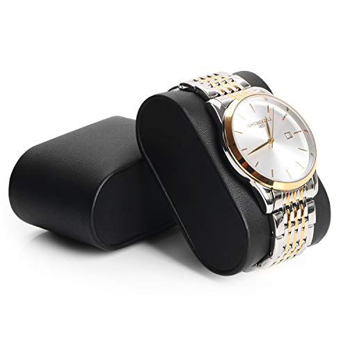 BEWISHOME Watch Box Organizer with Valet Drawer - Real Glass Top, Adjustable Tray, Metal Hinge, Carbon Fiber Design - 12 Slots Watch Storage Case for Men, Black SSH02C
