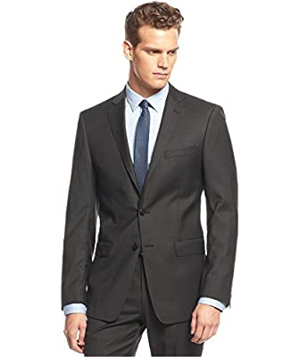 Calvin Klein X Slim Fit Black Mini-Striped Two Button New Men's Suit Jacket