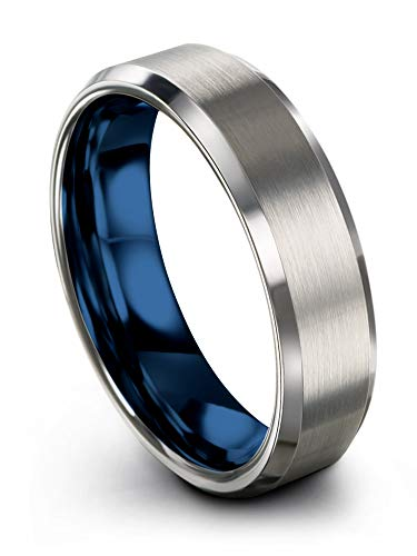 - Chroma Color Collection Tungsten Carbide Wedding Band Ring 6mm for Men Women Blue Interior with Grey Exterior Bevel Edge Brushed Polished Comfort Fit Anniversary Size 9