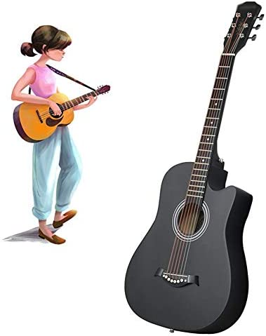 YJFENG アコースティックギター、 38インチカットコーナー スターターキット 美しく丸い音 彫刻デザイン 初心者 女子高生 ギタースターターパック (Color : Black, Size : 96cm)