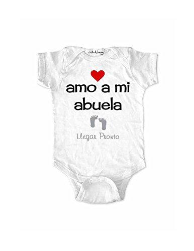 amo a mi abuela Llegar Pronto - Spanish I love my grandma Coming Soon baby birth & Free Note Card (Newborn Bodysuit, White)