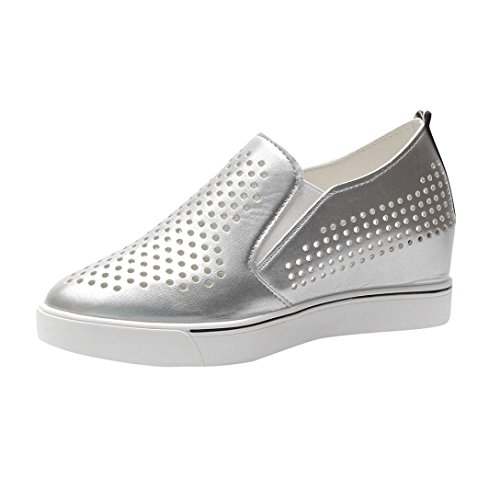 AIMTOPPY HOT Sale Women's Solid Color Hollow Out Increasing Wedges Raised Pointed Shoes Casual Shoes (US:5, Silver) by AIMTOPPY (Image #1)