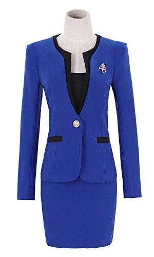Kangqifen Women's Long Sleeve Business Offcie Suit Skirt Set (Small, Royal Blue) by Kangqifen (Image #4)