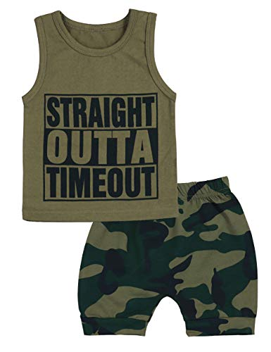 (Toddler Infant Baby Boy Summer Clothes Straight Outta Timeout Vest +Camouflage Shorts Outfit)
