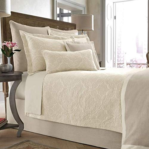 Wamsutta Collection Full Queen Size Salerno Coverlet in Linen