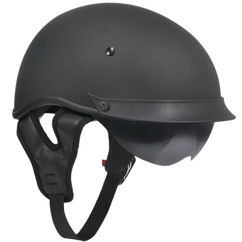 Outlaw T-72 Matte Black Dual-Visor Motorcycle Half Helmet - Medium