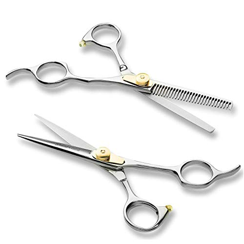 DOLA Hair Scissors, Professional Hair Cutting Shears, Barber/Salon/Home Thinning Shears Kit with One Regular Hair Scissors, One Thinning Scissors and One Grooming Comb by DOLA