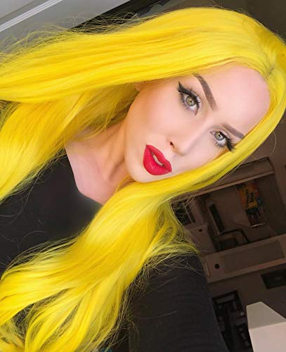 (Sapphirewigs Yellow Color Natural Wavy Silky Soft Beauty Blogger Celebrity Perruque Daily Makeup Synthetic Lace Front Wigs (Yellow))