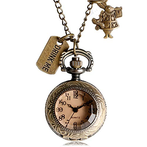 Amazon.com: CHITOP Vintage Real Glass Alice in Wonderland Watches Drink me for Wishing Bottle Quartz Pocket Watch Necklace reloj de bolsillo 2018: Cell ...