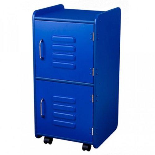 KidKraft Painted Wood Medium Storage Locker On Wheels with Two Compartments - Blue by KidKraft