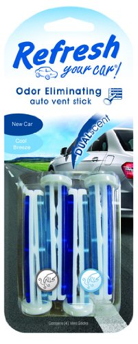 Refresh Your Car! 09578 Dual Scent Vent Stick, New Car and Cool Breeze, 4 Per Pack - Car Dual Scent