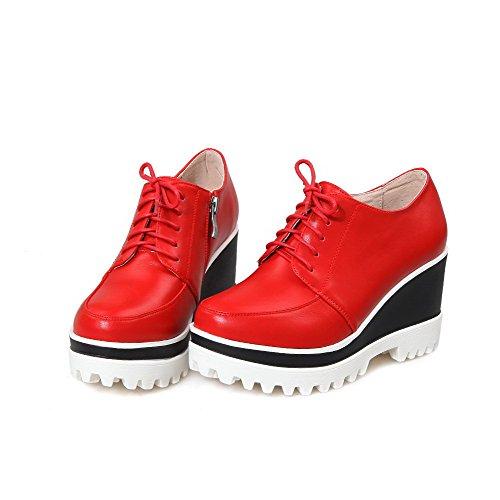 VogueZone009 Damen Weiches Material Rund Zehe Hoher Absatz Reißverschluss  Rein Pumps Schuhe Rot ...