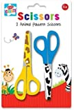 Anker Kids Create Arts and Crafts Animal Printed Scissors, Plastic, Assorted Colour, 2-Piece